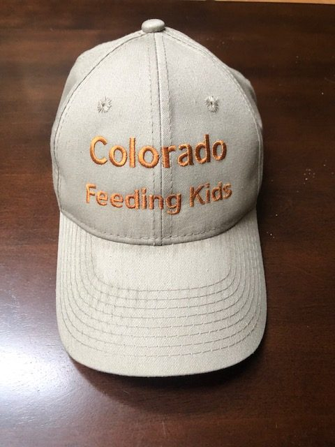 A beige ball cap hat with the words Colorado Feeding Kids on it